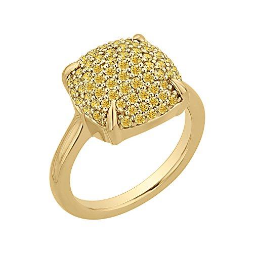 Amarillo zafiro anillo de moda en 14K oro amarillo (11/5quilates)