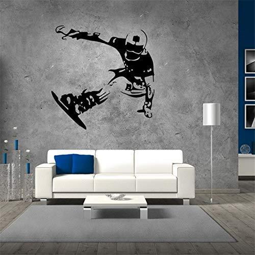 Skating Tee Wandaufkleber Junge Schlafzimmer Hintergrund Wandtattoos Snowboard Tapete Home Decoration Wandkunst Wandbild Poster 57X58Cm