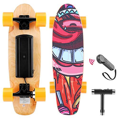 WOOKRAYS Elektrisches Skateboard, Elektro Skateboard mit Fernbedienung, 350W Motor, Höchstgeschwindigkeit 20KM/H, 3-Gang Einstellung E-Skateboard für Kinder, Jugendliche, Erwachsene (Orange)