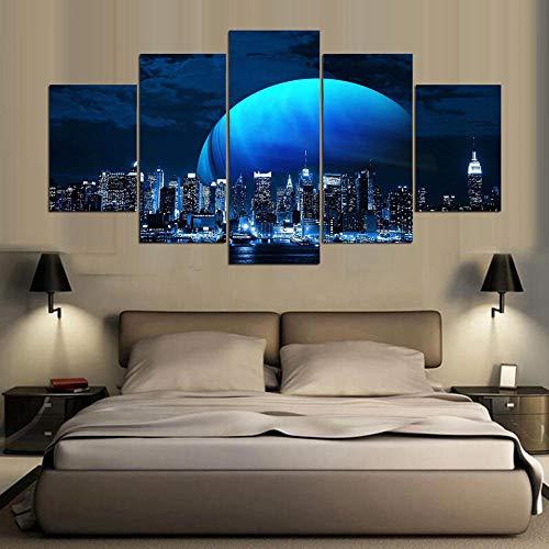 rkmaster-Abstract affiche modulair canvas fotolijst 5 stuks maan en gebouw nachtscène schilderij Hd-druk decoratie woonkamer muurkunst