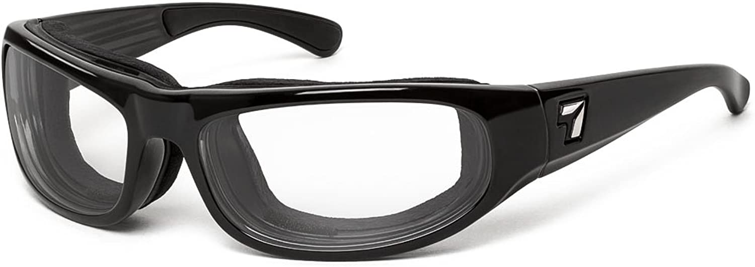 7eye by Panoptx Whirlwind SharpView Sunglasses with Clear Lens, Small Large, Black Glossy