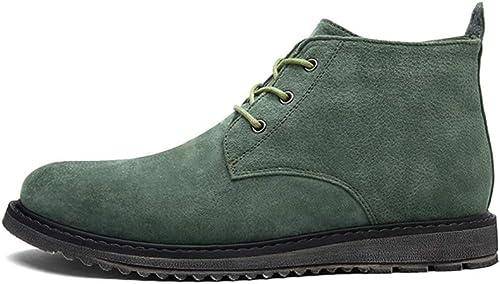 Qiusa botas Casuales para Hombre de Tobillo Suela Blanda Antideslizante Durable TransPiñable Comfort botas (Color   verde, Tamaño   EU 39)