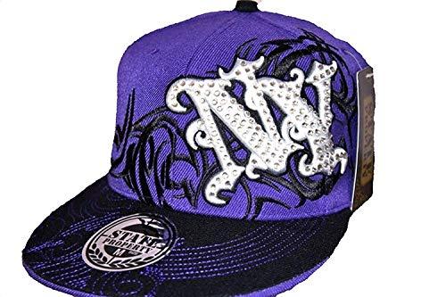 State Property NY Tribal Violet Visière Plate Capuchons, Dope Ajusté Baseball Hip Hop Chapeaux - Pourpre, Medium 56CM (7 1/8)
