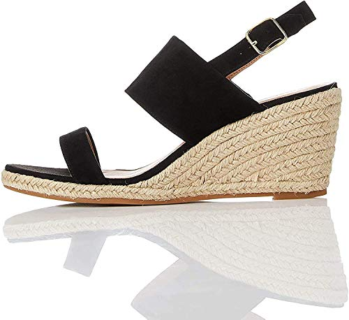 find. Wedge Leather Espadrille Peeptoe Sandalen, Schwarz Black), 37 EU