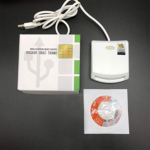 Jeerui EMV SIM eID Smart Chip Card Reader Writer Programmer #N99 for Contact Memory Chip Card &SDK Kit,Compatible with Windows (White)