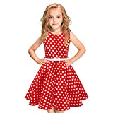 Girls Christmas Polka Dot 50s Vintage Audrey Hepburn Swing Dress 1950s Rockabilly Retro Cocktail Sleeveless Party Prom Dresses Flower Print Dance Evening Gown with Belt Red Polka Dot