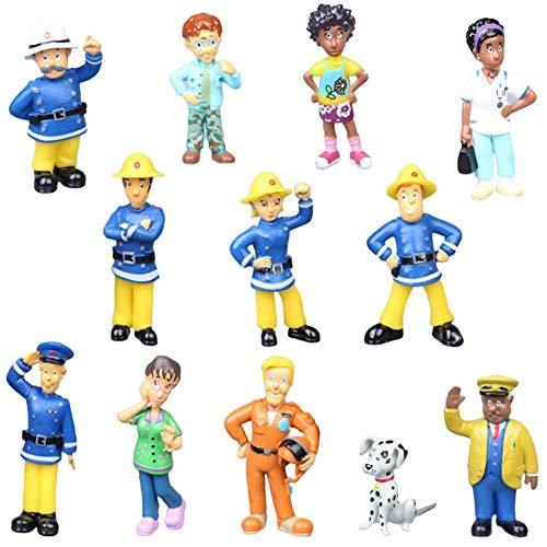 SZWL 12 Stück Feuerwehrmann Cake Topper, Mini Anime Figur Modelle, für Kinder Geburtstag Dusche Thema Party Kuchen Dekoration Zubehör
