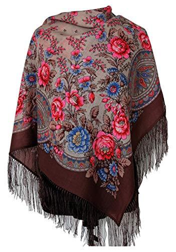 Wunderschöner authentischer russischer Pavlovo Posad-Schal, Vintage, Folk, 100 % Wolle, mit Seidenfransen, Größe 89 x 89 cm, Braun