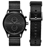 MVMT Voyager Mens Watch Gift Set   Analog Chronograph Watch with Date   Includes Black Stainless Steel Mesh & Black Nylon Straps