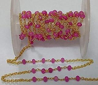 LOVEKUSH 5 Feet Fuchsia Pink Chalcedony Beaded Chain - 24K Gold Plated Wire Wrapped Chain - Beads Size 3-4mm - Fuchsia Pin...