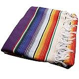 SODIAL メキシコ風のテーブルクロス、メキシコパーティーと結婚式用装飾品、メキシコ、サルティーヨ、セラーペのブランケット、ベッドのブランケット、アウトドア、テーブルのカバー、テーブルクロス、タペストリー、ブランケット、ピクニックのマット