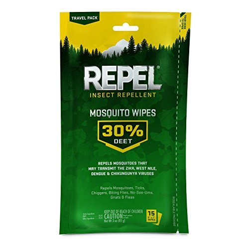 Repel Insect Repellent Mosquito Wipes 30% DEET, 15-Count, 6-Count
