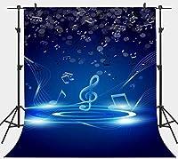 HDブルー音楽テーマ写真撮影の背景音楽シンボルノート背景ビニール5x7ftフォトスタジオ小道具LYPH544