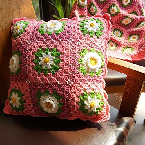 DFYYQ Hecho a Mano Crochet Crisantemo Flor Almohada Patrón Cojín Hecho A Mano Decorativo Decorativo 40x40cm Ocio (Specification : 40X40cm)
