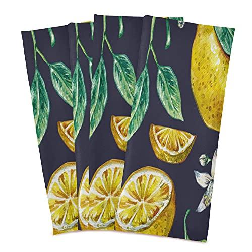 Mnsruu Toallitas de cocina vintage con diseño de hojas de limón, 1 unidad, superabsorbentes, suaves, 71 x 46 cm