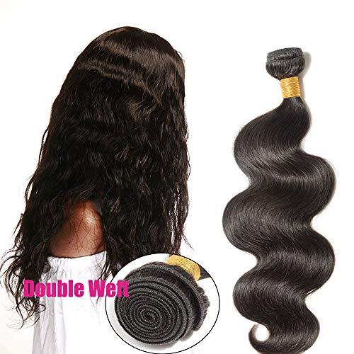 """24""""(60cm) Extensiones de Cortina Pelo Natural Humano Cabello Virgen Brasileño 100% Remy Brazilian Human Hair Bundles Ondulado Largo (100g,#1B Negro Natural)"""