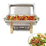 TFCFL Calentador de alimentos Chafing Dish de acero inoxidable, 9 L, para desayunar en hoteles, brunch, catering, fiestas (63 x 35 x 32 cm)