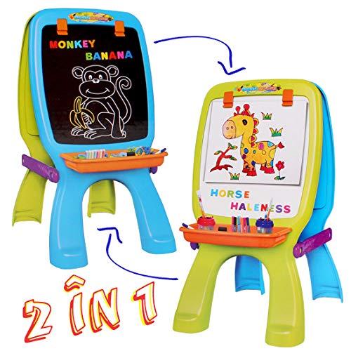 deAO Kunststudio für Kinder –Schreibtisch mit Projektor, aufklappbare Magnet-und Zeichenleinwand, Schreibtischstuhl, Schablonen, Bunstifte und Magnete