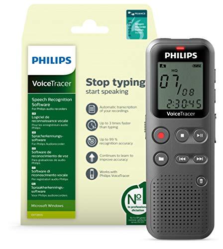 Philips VoiceTracer Audiorecorder DVT1115 | Mono Recorder mit 4GB, USB, Spracherkennungssoftware - Recorder Edition 13 EN/FR/DU/NL/ES/IT (Windows)