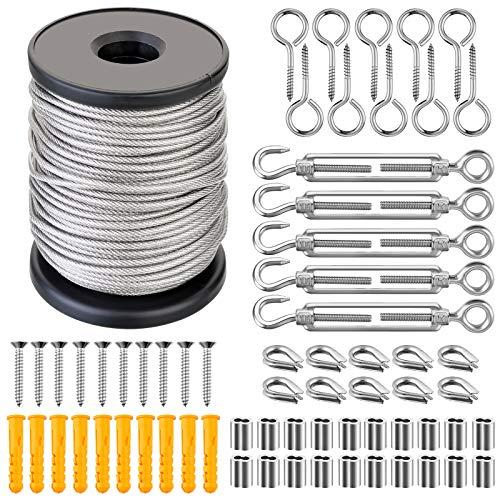 Cable de Acero Inoxidable 30M Cuerda de Alambre Kit Colgar Cables Tensores de Alambre para Tendedero Tensor de Alambre Toldo Barandillas Antióxido Kit Barandilla de Cables (Serie 2)