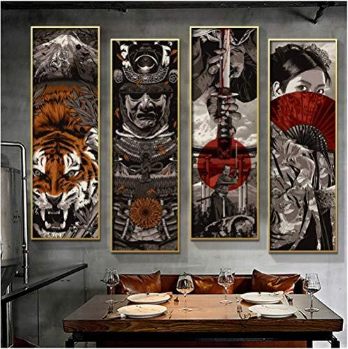 Cuadro en Lienzo Pintura Nordic Wall Art Knight Tiger Picture Samurai Posters Modern Living Room Home Decor (40x80cmx4 Sin Marco)