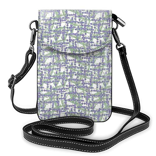 Jiger Women Small Cell Phone Purse Crossbody,Grid Design With Springtime Herbs Aromatic...