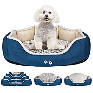 KROSER Deluxe 25.5″/33″/41″/48″ Dog Bed with Reversible Pillow (Warm and Cool), Super Soft Sleeping Pet Bed, Machine Washable & Removable Covers, Non-slip Waterproof Bottom Sofa Bed for Dogs 25-110LBS