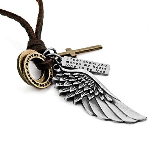 MunkiMix Metalllegierung Echtleder Anhänger Halskette Silber Golden Zwei Ton Kruzifix Engelsflügel Einstellbar Herren