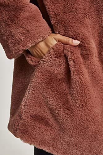 Urban Classics Ladies Hooded Teddy Coat parka uomo, darkrose, XL Donna