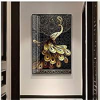 DLFALG HDプリントキャンバス絵画壁アートゴールデンピーコック写真ブラックパターンテールクジャクポスターリビングルーム家の装飾-60x80cmフレームなし