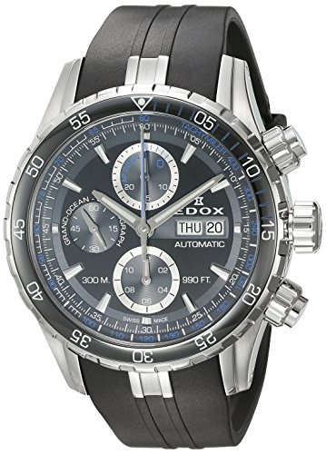 EDOX Herren Analog Schweizer Automatik Uhr mit Gummi Armband 01123 3BUCA NBUN
