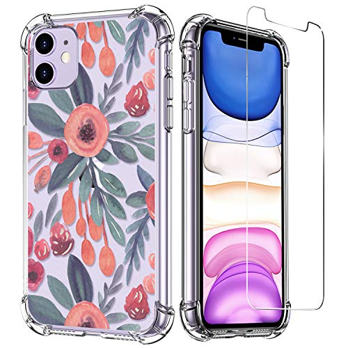 LUXVEER iPhone 11 Case with Tempered Glass Screen Protector,Blooms Floral Flower Pattern on Soft TPU Bumper Cover for Grils Women,Shockproof Slim Fit Protective Phone Case for Apple iPhone 11 6.1 inch