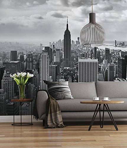 Sunny Decor - fotobehang NYC BLACK AND WHITE - 368 x 254 cm - behang, muurdecoratie, New York, Empire, Amerika - SD323