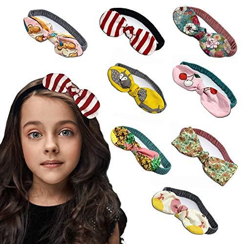 2 Fascia Capelli Bambina in Cotone Morbido ed Elastico Accessori Bambina per acconciature - Set da 2 fasce fantasie assortite