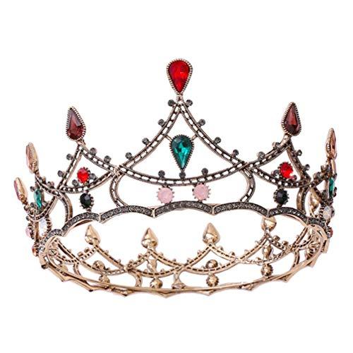 Minkissy Barroco Vintage Reina Coronas Redondas de Tamaño Completo Tiara Lujo Retro Cristal Boda Nupcial Barroco Corona Diadema Disfraz Joyería para El Cabello Decoración para Mujeres Y