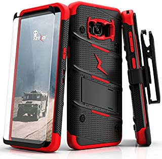 ZIZO Bolt Series Samsung Galaxy S8 Plus Case Military Grade Drop Tested with Tempered Glass Screen Protector Holster Black RED
