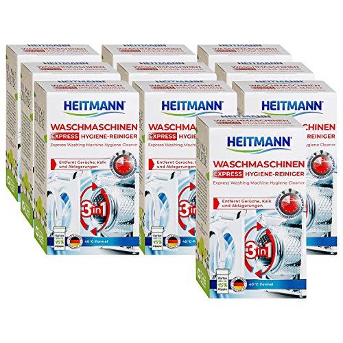 Heitmann Express Waschmaschinen Reiniger: entfernt Kalk, Ablagerungen und Gerüche, Maschinenreiniger, 10x250 g