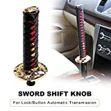 RYANSTAR Samurai Sword Automatic Shift Knob Universal for Lock/Button Automatic Transmission,Cool Katana Gear Shifter Metal Weighted Black&Red