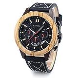 Bewell W161a Homme montre bracelet analogique à quartz japonais avec cadran en bois et cuir bracelet de montre équipée avec fonction chronographe et calendrier