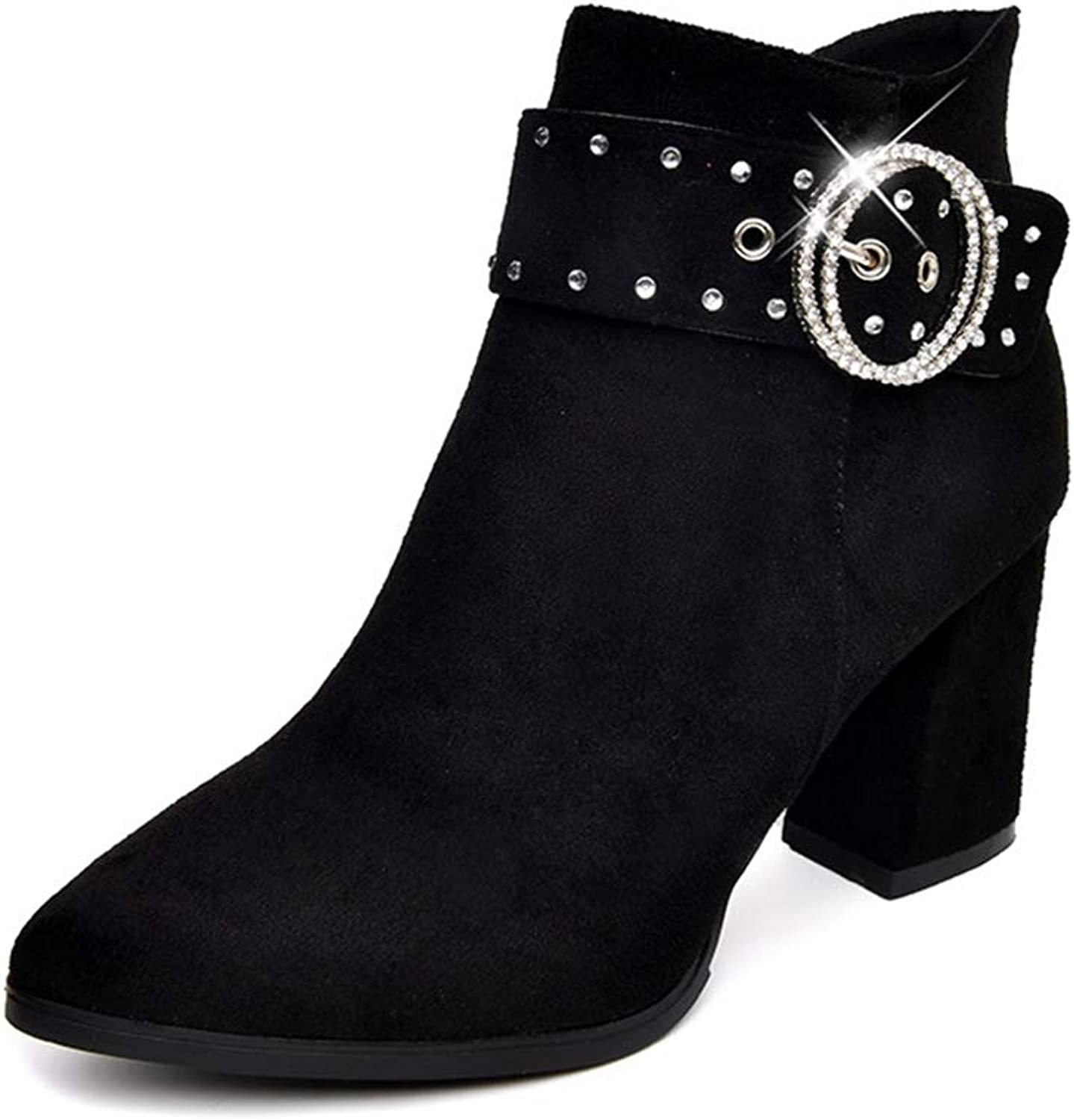 YUBUKE Women's Buckle Side Cut Out Chunky Stacked Heel Ankle Bootie