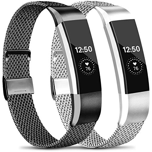 Meliya Metal Loop Bands Compatible with Fitbit Alta/Fitbit Alta HR, Stainless Steel Mesh Megnet Lock Replacement Wristbands for Women Men (Large, Black+Silver)