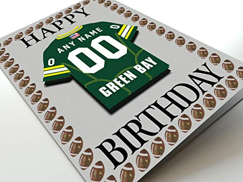 Geburtstagskarte mit NFL National Football League T-Shirt Aufdruck, personalisierbar A5 Fridge Magnet Greeting Card Green Bay Packers NFL Fridge Magnet Card
