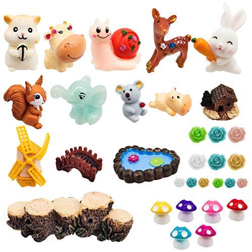 VINLINGDAI 32Piezas Adornos de jardín de Hadas Miniatura Accesorios Paisaje Kit,Resina Animal Miniatura Paisaje Ornamento,para Maceta, Adornos de Bricolaje Bonsai
