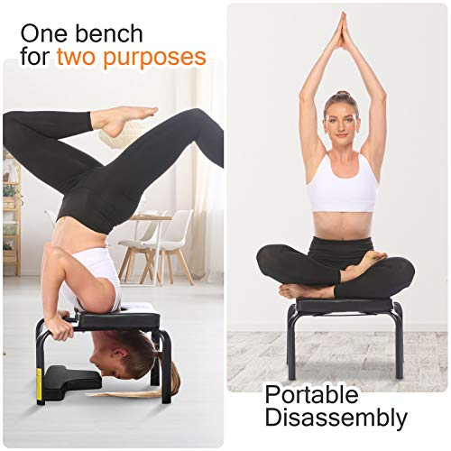 CROFULL Yoga Chair Headstand Bench Trainer Inversion Stool for Workout, Fitness and Gym, Handstands, Support Poses, Back Pain Relief and Stretching (Black)