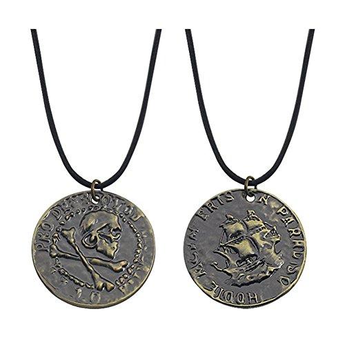 アンティークブロンズ アンチャーテッド 4 ドレイク 彫刻スカル ゴールド コイン ペンダント ネックレス ブラックレザーチェーン