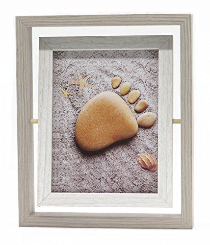 Smiling Art kreativer Bilderrahmen für 2 Fotos aus MDF Holz mit Glas, Doppelrahmen (Drehbar Weiß, 13x18 cm)