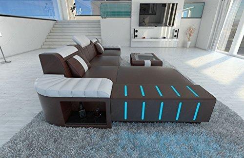 moderno sofá de cuero BELLAGIO Forma L Sofá de diseño con LED Iluminación