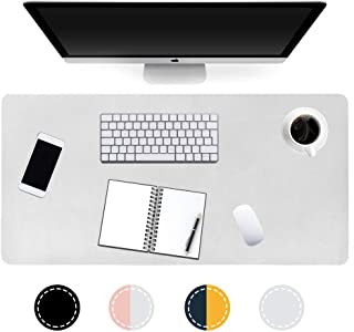 """Edeesky Desk Pad,Office Desk Mat,31.5""""×15.7"""" Waterproof PU Leather Mouse Pad,Dual Use Desk Writing Mat for Office/Home(Silver+White)"""
