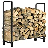 KINGSO 4ft Firewood Rack Outdoor Heavy Duty Fire Wood Rack Firewood Holder Storage Rack Easy Assemble Steel Tubular Log Rack for Patio Deck Storage Stand for Indoor Outdoor Fireplace Tools