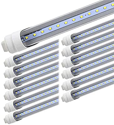 T8 T10 T12 LED Light Tube, 8foot 45W R17d (Replacement for F96T12/CW/HO 100W), Rotating Base 8ft Shop Light Bulb, 6000K Cool White, 4800LM, Clear Lens, Dual-Ended Power, Basement